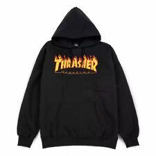 Felpa con Cappuccio Thrasher Flame Logo Hoodie Black
