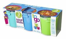 SISTEMA KLIP IT MICROWAVE SOUP TO GO MUG, 656ML, ASSORTED COLOURS PACK OF 3