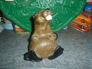 "Bearfoots Singing Tree ""Chip"" Happy Beaver Business Card Holder Carved Fleming"