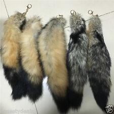 "50cm 20"" Big Real Arctic Coyote Wolf Tail Fur Keychain Tassel Cosplay Bag charm"