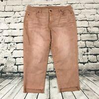Lane Bryant Womens Jeans Raw Hem Girlfriend Crop Stretch Dusty Rose Pink Size 20