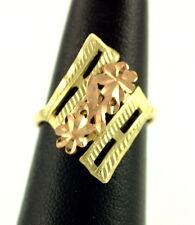 14K Ring Gianni Deloro Rose Yellow Gold Flower Chevron Fleur De Lis Size 6.75