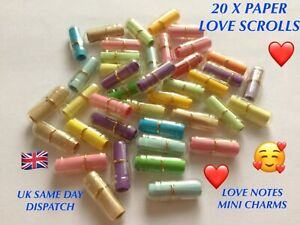 20 CLEAR MESSAGE CAPSULES PAPER LOVE SCROLLS MINI WISH BOTTLE LOVE NOTES CHARMS