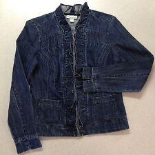 DRESSBARN Dark Denim Zip Jacket. Ruffles & Gathers. V-Neck. Women S. Excellent!