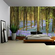 Forest of Bluebell Flowers in the Spring Time - Wall Mural - 66x96 inches
