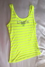 WOMEN'S SUMMER BEBE LOGO STRIPED VEST TOP LIME GREEN UK SIZE 4 US XS EXTRA SMALL