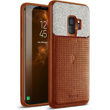 Case For Samsung Galaxy S9 Poetic【Nubuck】Credit Card Slot Pull-Tab Case Brown