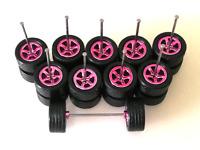 (NEW) Hot Wheels 5 Spoke (Candy Pink ) SAKURA Rubber Tire for JDM - 5 sets