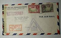 Netherlands Antillies Curacao Registered Airmail Cover 1944 Postal Censor Mark