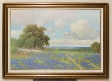 Original Texas Bluebonnet Oil Canvas Painting Signed PORFIRIO SALINAS - Rare!!!