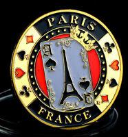★★ GROSSE MEDAILLE PORTE CHANCE POKER PLAQUéE OR : PARIS ★★