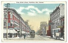 King Street (East), Hamilton, Ontario PPC Unposted, Show Tram & Shopfronts