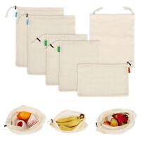 6pcs Reusable Cotton Mesh Produce Bags Grocery Fruit Storage Shopping String Bag