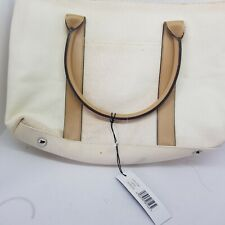 Suzy Smith - Cream & Tan Canvas Twin-handled Bag New With Tags