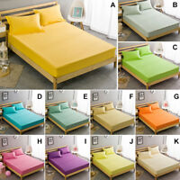 100% Cotton Solid Color Fitted/Flat Sheet All Seasons -Deep Pocket Bed Coverlet