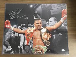 MIKE TYSON signed Heavyweight Championship Belts Autograph PSA/DNA 16x20 Photo