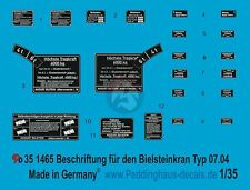 Peddinghaus 1/35 German 6 Ton Bilstein Crane Typ G 07.04 Markings WWII 1465