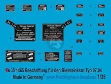 Peddinghaus 1/35 German 6 Ton Bilstein Crane Typ G 07.04 Markings WWII 1465