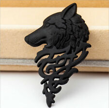 Pin Men Women Shirt Suit Accessory A6 Black Retro Europe Wolf Badge Brooch Lapel