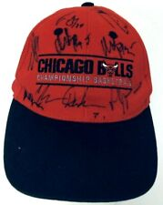 Singed NBA Chicago Bulls Basketball Championship Cap Hat One Size Kick 10 Red