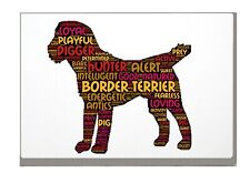 More details for border terrier art print word art a4 a3 mothers day gift personalised option