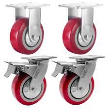 4 Pack 6 Heavy Duty Caster Wheel Plate Maroon Pu Wheels 2 With Brake Amp 2 Rigid