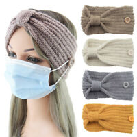 Winter Ear Warmer Women Knitted Headband With Button Hair Accessories SoildColor