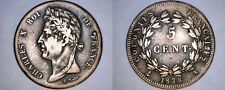 1828-A French Colonies 5 Centimes World Coin - Holed