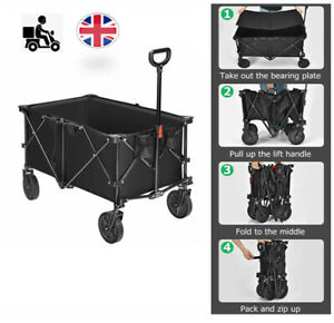 UK Collapsible Folding Wagon Cart Outdoor Utility Garden Trolley Buggy 212L 80KG