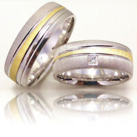 2 Silber 925 Trauringe mit Gravur Eheringe Verlobungsringe Partnerringe 3311-1