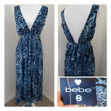 NWT Chiffon Halter DRESS~BLUE TIGER 100% SILK CHIFFON LAYERS~Ruched Hi-Lo Small