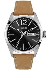 Guess Men's Leather Strap Watch W0658G7