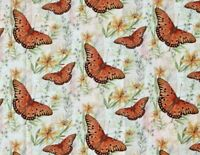 FAT QUARTER FABRIC  BUTTERFLIES BUTTERFLY & LILIES 100% COTTON SUSAN WINGET  FQ