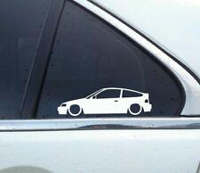 2X Lowered retro car stickers - for Honda CRX (1987–1991) SiR / b16 vtec