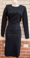 PHILIP ARMSTRONG BLACK BEADED STUDDED LONG SLEEVE PENCIL BODYCON PARTY DRESS 10