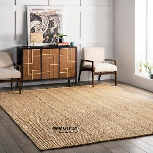 Rug Jute 100% Natural Jute Style Rug Reversible Braided Modern Rustic Look