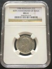 1906 Romania LEU NGC MS-61 40TH Anniversary Of Reign