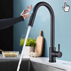 Schwarz Küchenarmatur Ausziehbar Brause Touch sensor Spültisch Wasserhahn Küche