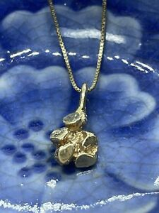 14K Solid Yellow Gold Vintage Nugget Necklace