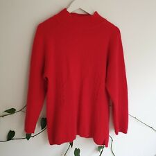 Vtg 80s 90s Red Fluffy Angora Wool Blend Cable Knit Jumper M (Fit M-L) High-Neck