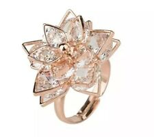 Alloy Rose Flower Design Ring - Size P Adjustable - Womens Jewellery