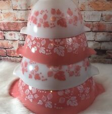 Pyrex Gooseberry Cinderella Mixing Bowls Set of 4 Vintage Nesting Bowls Pink