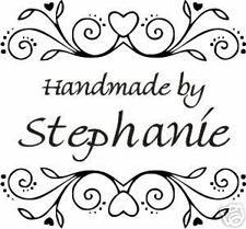 UNMOUNTED PERSONALIZED 'HANDMADE BY'  RUBBER STAMPS H64