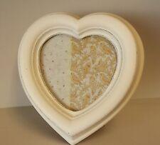 Gisela Graham White Shabby Chic Vintage Heart Photo Frame With Flower Detail