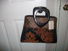 MAGID DAMASK FABRIC Bronze wicker hand bag PURSE NWT $69