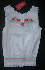 NWT Gymboree Floral Reef Size 6 White Floral Embroidered Smocked Tank Top