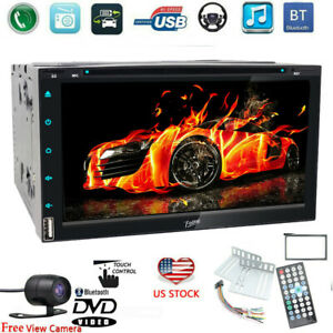 "7"" Touchscreen Double 2Din Car Stereo DVD CD MP3 MP5 Player Radio Bluetooth Cam"