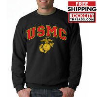USMC MARINES CREW NECK BLACK Marine Corps Sweatshirt semper fi US Military