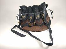 Viva Of California Purse Black & Brown Handbag Shoulder Bag Metal & Bead Tassels