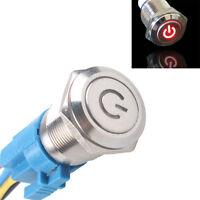 16mm 12V KFZ Schalter Drucktaster Taster Leistung LED Beleuchtet Rot